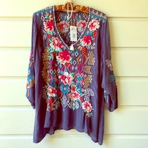 NWT Johnny Was Emmaline embroidered Blouse XL